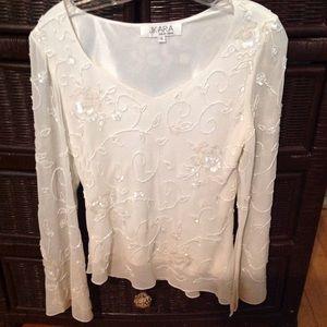 Beautiful, dressy cream colored blouse